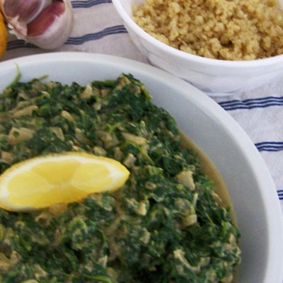 Spinatpfanne mit Quinoa